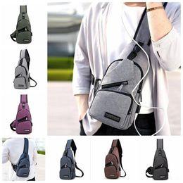 Wholesale Wholesale Bag Cross - Men USB Chest Bag Sling bag Large Capacity Handbag Crossbody Bags Shoulder Bag Charger Messenger Bags 6 Colors