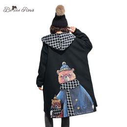 Canada Manteau long de bande dessinée d'impression de manteau d'hiver des femmes 2017 BelineRosa 2017 col mignon capuchon ours noir manteaux pour femmes TYW00677 Offre