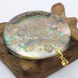 Wholesale Abalone Jewelry Making - Wholesale-51mm Natural Accessories Multicolor Abalone Paua Sea Pearl shells Pendants Flower DIY Christmas Women Girls Gifts Jewelry Making