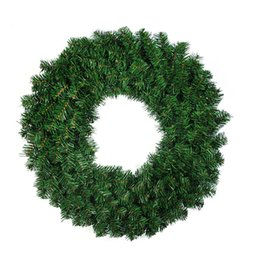 Guirnaldas de decoración online-Christmas Enfeites De Natal Adornos Navidad Craft Supplies Adornos colgantes 30cm Verde PVC Ordinary Christmas Wreath Tree Decoration flower