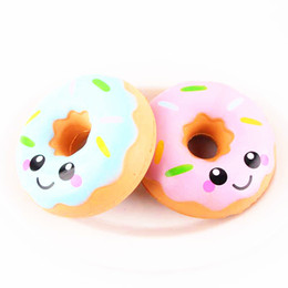 blue rose charms Promo Codes - Squishy Doughnut Slow Rising Decompression Toys Jumbo Food Bread Cake For Kids Adults Blue Pink Stress Relief Toy