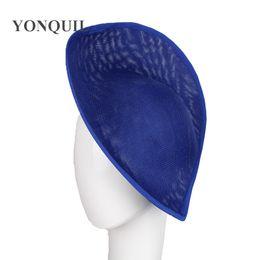 Wholesale blue hair fascinators - Royal blue colors 30 cm fascinators hat beses fashion wedding headdress ladies millinery hats hair accessories 5pcs lot SYB05