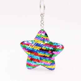Звездный ключ онлайн-Cute Chaveiro Star Keychain Glitter Pompom Sequins Key Chain Gifts for Women Llaveros Mujer Car Bag Accessories Key Ring