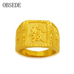 Wholesale Chinese Rings For Men - whole saleOBSEDE Punk Gold Color Copper Alloy Ring for Men Chinese Words Fortune Rich Signet Ring for New Year Gifts Friends