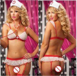 Set di biancheria intima sexy online-Trasporto libero Nuova cosplay lingerie sexy Halloween bianco Bikini reti senza schienale prospettiva maglia tre punti infermiera uniforme Tentazione Set