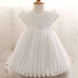 Wholesale White Dress Baptism Party - Baby Girl Dress Newborn White Christening Gown 1 Year Girl Baby Birthday Dress Infant Lace Big Bow Party Baptism
