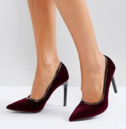b4ee6e9dd8a 2018 New arrival women burgundy color pumps thin heel party shoes wine red velvet  pumps point toe sexy high heels dress shoes