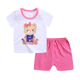 Niña bebe ropa camiseta diseño online-Summer 5 Designs Cute Girls Short-Sleeved Cartton Cotton T-shirt + Shorts Trajes Camiseta infantil Baby Two-piece Suits Ropa infantil