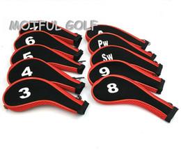 ferros de golfe rígidos Desconto ferros Zipper Golf ferro headcover definir cobrir a cabeça com 10pcs zip / embalar número de cor vermelha impressa