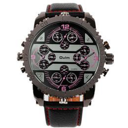 большой человек японский Скидка 2018 hot 4 часовой пояс специальный многофункциональный армия большая голова кожаный ремешок Япония кварцевый механизм oulm 3233 спортивные мужские часы