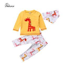 8ad30ef7c6ce Pudcoco 2018 Toddler Baby Girl Boy Clothes Set Cute Giraffe Long Sleeve  Tops+Leggings Pants 3pcs Autumn Cotton Outfits Set 0-24M