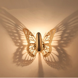 abat-jour en or Promotion Creative LED Applique Papillon Abat-jour Projection Ombre Applique Murale Or Papillon Applique Murale pour La Maison Café Applique Applique