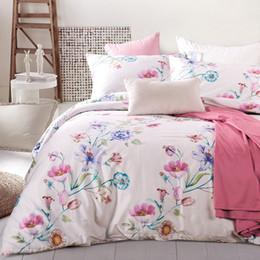 flor colcha rei Desconto Pastoral Flores edredon cobrir Set Rainha King Size cama Set 100% algodão egípcio cor sólida colcha / Coverlet macio fronha