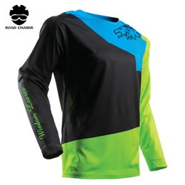 Wholesale Cool Cycling Jerseys Men - 2018 New Arrival 4 Color Style Motocycle Off Road Downhill MTB Jerseys Dirt Bike Cycling Bicycling Cool Shirt