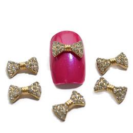 Wholesale Stud Bow Tie - 5pcs Beautiful DIY Gold Shinning Bow Tie Studs 3d Charm Metal Decorations Jewelry Nail Art Rhinestones Nail Accessory TRNJ056
