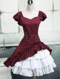 venom traje preto de aranha Desconto Mangas curtas de algodão ruffle bow lolita dress clássico