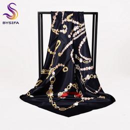 Argentina [BYSIFA] Señoras bufanda de seda negro mantón de moda nueva marca de la cadena bufandas cuadradas envuelve 90 * 90 cm primavera otoño musulmán cabeza bufanda cabo Suministro
