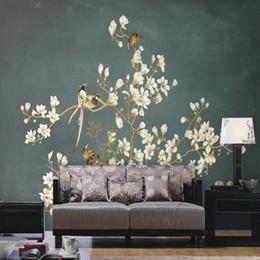 Blumen hintergrund tapeten online-Benutzerdefinierte 3d wallpaper 3D chinesische handgemalte Blumen Vogel Muster Wandbild TV Sofa Hintergrund Wand Wohnzimmer Schlafzimmer Tapete