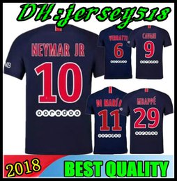 Wholesale paris kids - 18 19 MBAPPE PARIS NEYMAR JR DI MARIA SOCCER JERSEYS 2018 2019 VERRATTI MATUIDI CAVANI MAILLOT DE FOOT CAMISA KIDS FOOTBALL SHIRTS