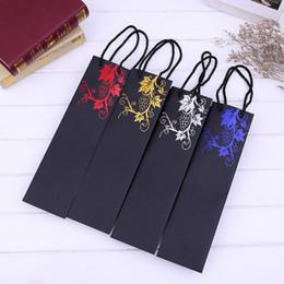 foglia di vino Sconti Sacchetto regalo di carta da vino rosso doratura addensare modello di foglie sacchetto di immagazzinaggio di sacchetti di immagazzinaggio di bottiglie per le bomboniere 1 1mx B