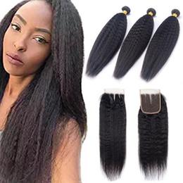 Extensions de cheveux vierges brutes indiennes Kinky droites 3 paquets avec 4X4 fermeture de lacet cheveux de bébé 4 pièces / lot couleur naturelle 8-28inch ? partir de fabricateur