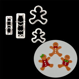 Wholesale Gingerbread Man Wholesale - Christmas Gingerbread Man Plastic Cookie Cutters Tools Fondant Biscuit Mold Cake Decorating Mold IC899636