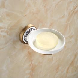 Piatti di sapone antichi online-Portasapone in ceramica in ottone anticato in porcellana Rete da bagno in ottone a parete Accessori per bagno 03SD Portasapone