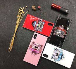Wholesale Iphone Pattern Glass - For iPhoneX 8 8plus tiger head pattern silicone phone case phone case shell for iPhone7 6 6S 7plus toughened glass back shell