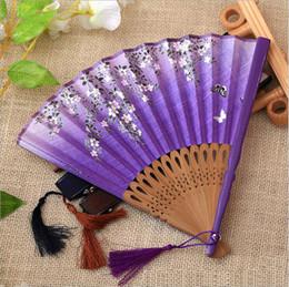 2019 flores para decorações do casamento 6 cores de estilo chinês flor de bambu dobrando fã de mão - festa de casamento de dança Favores de decoração favorita - decorações do festival presente de artesanato flores para decorações do casamento barato
