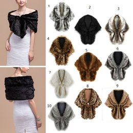 Wholesale Bolero Fur Shrug - 13 Colors Faux Fur Bridal Shawl Fur Wraps Marriage Shrug Coat Bride Winter Wedding Party Boleros Jacket Cloak Burgundy Black White Red