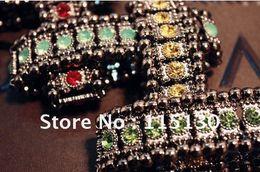 Vintage schwarze strass armbänder online-Vintage Strass Wrap Armbänder Für Frauen Schwarz Böhmischen Stretch Kristall Perlen Armband Armbänder Armreifen Femme Bijoux
