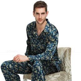 Pijamas para homens xl on-line-Pijama De Cetim De Seda Dos homens Conjunto Pijama Pijama PJS Pijamas Set Loungewear S, M, L, XL, XXL, 3XL, 4XL Para homens