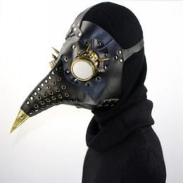 Retro Yortusu Korkunç Gerçek PU ve Metal Aksesuarları Veba Doktor Kuş Maskesi Gaga Doktor Cosplay Maske Ücretsiz DHL G218S nereden