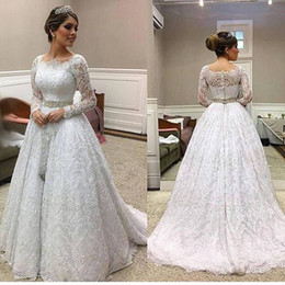 2018 Elegant Long Sleeve Lace Bridal Gown For Garden Wedding Bateau A Line  Sweep Train Waist Belt Zipper Back Wedding Dresses For Custom 3d7de86d492c