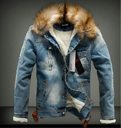 Wholesale Fur Lined Denim Jacket - Mens Jackets Fur Collar Fur Lining Denim Moto Thick Jacket Warm Coat Trench Outwear 2 Colours Size M-3XL Free Shipping