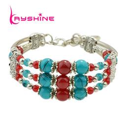 Wholesale Multi Color Bead Bracelet - Kayshine Fashion Women Bohemian Bracelets Antique Silver Color with Red Blue Black Beads Multi Layer Chain Bracelets & Bangles