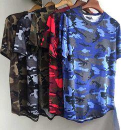 Wholesale Men Plain T Shirts - Men's T-shirt 2018 Summer Solid Color Curved Hem Long Line Camouflage Hip Hop Tshirt Elong Plain Kanye Tee Shirts Man Tshirt