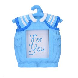 Wholesale resin photo frame picture - Small Pink Blue Picture Frame Resin Baby Clothes Pattern Baby Photo Frame Home Decor Best Gifts Hot Selling