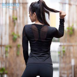 Wholesale Tight Long Sleeve Shirts Women - 2016 Women's Sports Aerobics Yoga Shirts Sexy Mesh Patchwork Tight Long Sleeves Gym T- Shirts Top Wear