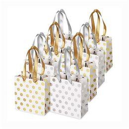 Cinta dorada de regalo online-Paper Small Gold Silver Metallic Dots Gift Bags with Ribbon Handles Small Gift Bags for Bridal, Wedding, Birthday, Christmas Holidays 0307