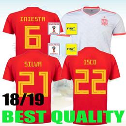 Wholesale Cups C - Camiseta España 2018 ISCO RAMOS ASENSIO camisetas de fútbol copa del mundo 2018 Thailand spain soccer jersey 2018 world cup INIESTA España c