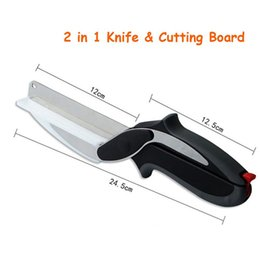 Wholesale smart knife - 2 in 1 Knife Cutting Board Scissors Kitchen Clever Smart Cutter Food Cheese Meat Vegetable Stainless Steel Cutter with Package