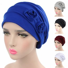 Wholesale Ladies Head Cover - 5Pcs Lot New Hotsale Brand Women Flower Hat Cancer Chemo Beanie Baggy Turban Cap Lady Head Wrap Cover Headscarf