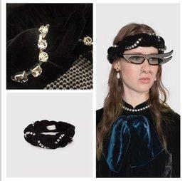 bufanda de terciopelo negro Rebajas Nuevo diseñador de lentejuelas diademas bufanda para las mujeres y los hombres de la marca de terciopelo negro a rayas con taladro HairBands Headwrap pañuelos