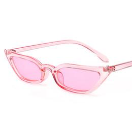 Wholesale Trendy Black Frame Glasses - 2018 Designer Retro Small pink Cat Eye Sunglasses Trendy thin frame Clear Red yellow Sun Glass Lens Black UV400 sunglasses 0143