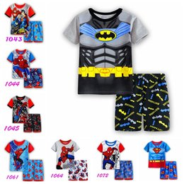 Wholesale Boys Pyjamas Cartoon - New boys summer childen pajamas set kids cartoon printed cotton Pyjamas Pijamas baby lovely sleepwear suits in stock