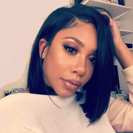 wholesale silky hair Promo Codes - 13*6 Deep Part Lace Front Human Hair Wigs For Black Women Pre Plucked Brazilian Remy Hair Straight Short Bob Wigs With Baby Hair