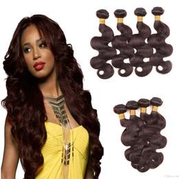Wholesale Sell Bundle Hair - Hot Selling Brazilian Dark Brown Human Hair 4 Bundle Colored #2 Brazilian Human Hair Weaves Cheap Body Wave Virgin Human Hair Extensions
