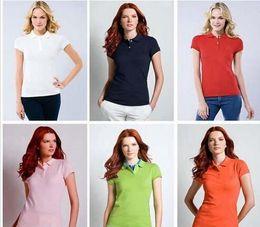 Wholesale high quality womens clothing - 2017 New Womens Brand Clothing Short Sleeve Shirt Lapel Business women Polo Shirt High Quality Crocodile Embroidery Cotton Woman Polo Shirt