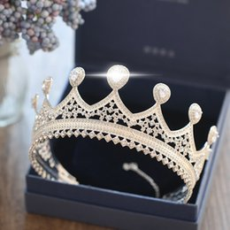 Wholesale Bridal Jewelry Set Blue - Bling Rhinestone Wedding Bridal Crown Big Size Round Tiaras Queen Hair Accessories Bride Headwear Jewelry Set 2018 New 100% Real Pictures